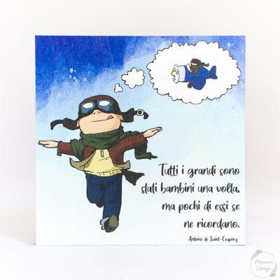Quadretto Bambino che sogna di volare bomboniera